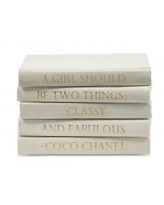 """A Girl Should Be Two Things: Classy And Fabulous"" Coco Chanel Quote 5 Volume Decorative Book Set With Gold Lettering"