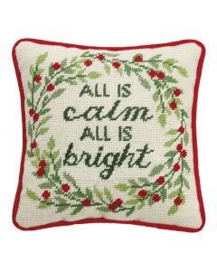 """All Is Calm and Bright"" White, Red, and Green Holiday Needlepoint Throw Pillow - ON BACKORDER UNTIL AUGUST 2021"