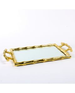 Gold Bamboo Mirrored Vanity Tray - ON BACKORDER UNTIL FEBRUARY 2021