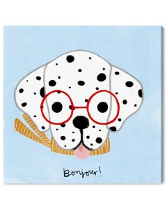 """Bonjour Spots"" French Dog Children's Wall Art - Variety of Sizes Available"