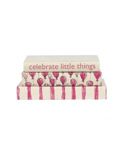 'Celebrate Little Things' 3 Volume Pink & White Decorative Book Set For Girls With Stripes and Balloons