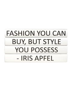 """Fashion You Can Buy, But Style You Possess"" Iris Apfel Quote 4 Volume Decorative Book Set"