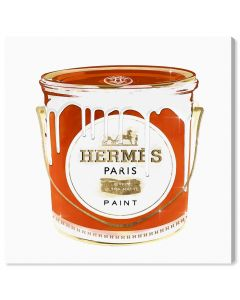 """French Luxe Paint"" Hermes-Inspired Orange Paint Can Fashion Canvas Wall Art"