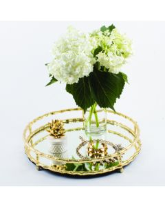 Gold Bamboo Round Mirrored Tray - OUT OF STOCK