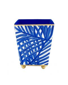 Blue Palm Design Square Cachepot - Available in Two Sizes