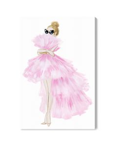 """Pink Tutu Dress"" Fashion Canvas Wall Art - Variety of Sizes Available"