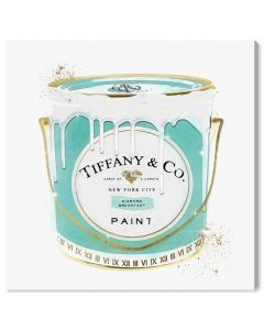 """Priceless Fashion Paint"" Tiffany's-Inspired Blue Paint Can Fashion Canvas Wall Art"