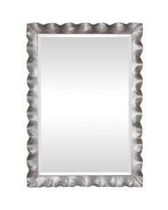Rectangular Mirror with Hand Forged Scalloped Metal Frame