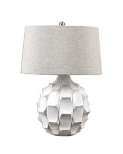 Scalloped Ceramic Table Lamp Glossy White