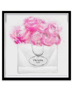 """Shopping For Peonies"" Pink and White Prada Inspired Fashion Canvas Wall Art"