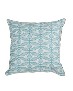 Lacefield Designs Abstract Blue Dragonflower Lagoon Decorative Pillow with Linen Micro Cord
