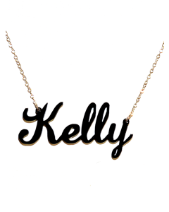 Patterned Lauren Acrylic Script Nameplate Necklace