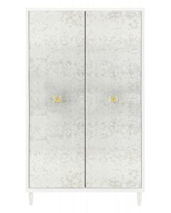 Acrylic Antique Mirror Eglomise Wardrobe With Brass Accents  - ON BACKORDER UNTIL JULY 2021