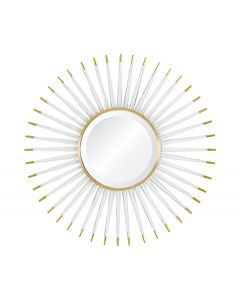 Acrylic Sunburst Wall Mirror with Brass Accents