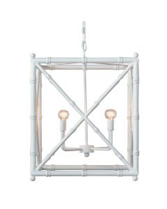 Aged White Bamboo Four Light Chandelier