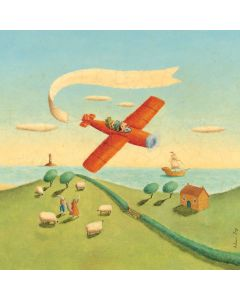 Vintage Airplane in the Country Mural Decal Wall Art for Kids