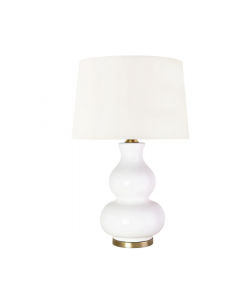 BARGAIN BASEMENT ITEM: Alexandria Gourd Ceramic Table Lamp in White with Shade - IN STOCK IN GREENWICH CT FOR QUICK SHIPPING