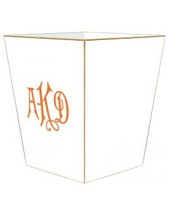 All White Personalized Wastebasket and Optional Tissue Box