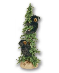 Six Foot Decorative Christmas Tree With Climbing Black Bears