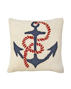 Anchors Away Nautical Hooked Pillow