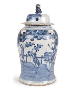 Antique Blue and White Ginger Jar With Figures and Landscape Design