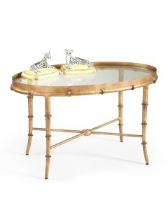 Antique Gold Bamboo Cocktail Table with Glass Top