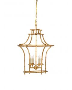 Antique Gold Four Light Bamboo Chandelier