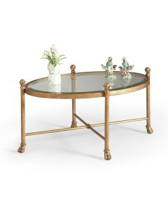 Antique Gold Oval Cocktail Table With Glass Top