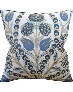 Aqua and Blue Cornelia Decorative Square Throw Pillow - Available in Two Sizes