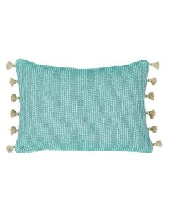 Lacefield Designs Aqua Squiggly Lumbar Pillow with Tassel Fringe