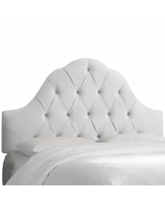 Arch Tufted Headboard in Velvet White-Available in Five Different Sizes