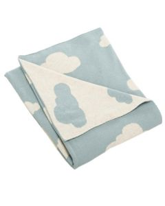 Arctic Blue and White Cloud Motif Baby Blanket