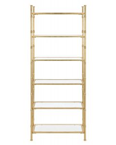 Gold Bamboo 6 Tier Etagere with Tempered Glass Shelves