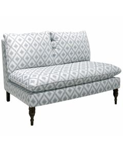 Armless Love Seat in Ikat Fret Pewter