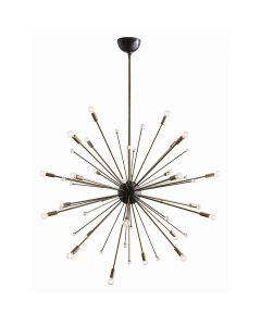 Arteriors  Imogene Large Sunburst Sputnik Chandelier with Vintage Brass Hardware