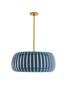 Arteriors Wilson Pendant with Blue Cadet Microfiber Shade - BACKORDERED UNTIL MAY 2020
