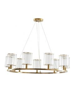 Arteriors Lorena Antique Brass and Clear Glass Fixed Nine Light Chandelier
