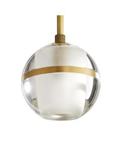 Arteriors Noble Antique Brass and Crystal Globe Pendant
