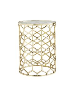 Arteriors Thursbey Brass Honeycomb Accent Table with Glass Top