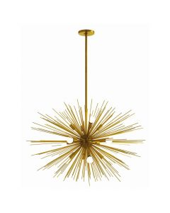 Arteriors Zanadoo Large Twelve Light Antique Brass Sunburst Sputnik Chandelier