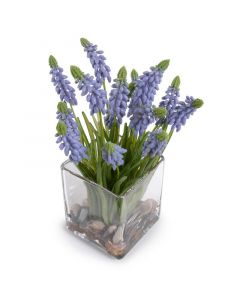 Artificial Grape Hyacinth Plant Arrangement in Glass Cube