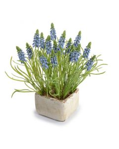 Artificial Grape Hyacinth Arrangement in Natural Stone Finish Planter