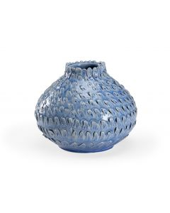 Artistic Textured Italian Ceramic Vase in a Blue Glaze
