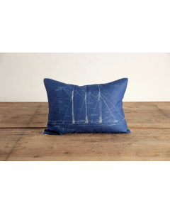 Atlantic Schooner Blueprint Natural Linen Decorative Throw Pillow