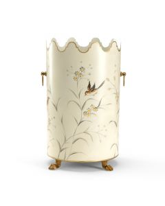 Aviary Scalloped Wastebasket with Bird Design and Ring Handles - ON BACKORDER UNTIL EARLY DECEMBER 2019