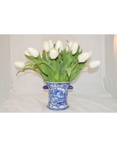 White Faux Tulip Arrangement in Blue and White Porcelain Handled Vase