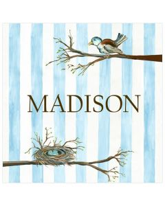 Blue and White Mama Bird and Nest Striped Canvas Wall Art for Kids