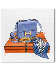 Bag With Box, Bracelet, and Scarf Hermes-Inspired Fashion Canvas Wall Art