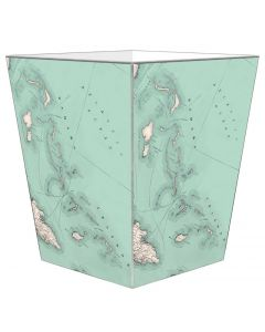 Bahamas Antique Map Decoupage Wastebasket with Optional Tissue Box