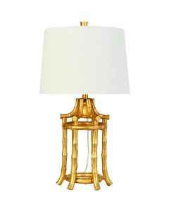 Bamboo Lantern Shape Table Lamp with Shade in Gold Finish